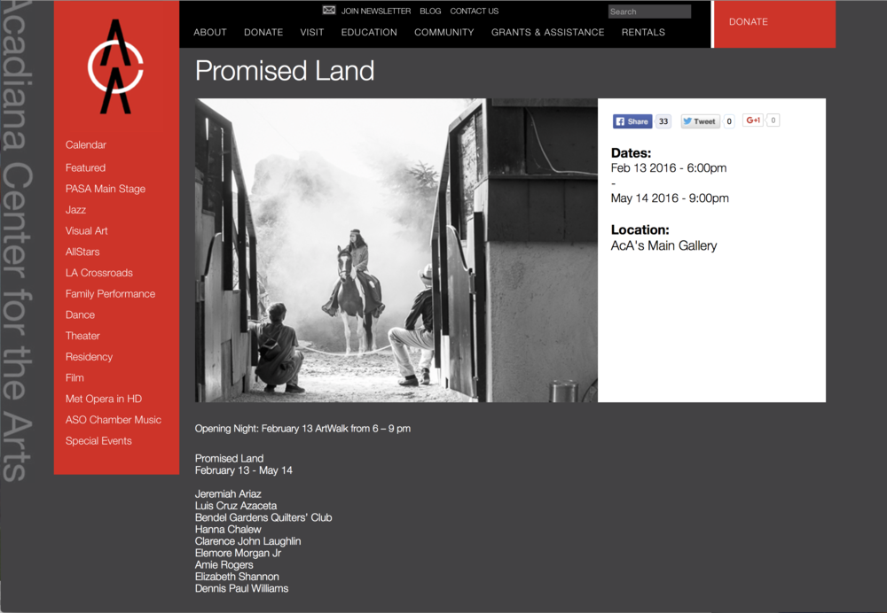 "Promised Land explores how one's perception of ""home"" shapes our personal vision of the world. The various artists included in the exhibition use different mechanisms of storytelling: identity, opportunity, family, security, prosperity; which are in turn contrasted with potential vulnerability and loss.  Jeremiah Ariaz's photos speak to the ""wild west"" and its renowned opportunity, as well as, capture its evaporated dreams as ghost towns supplant prosperity, teepees sprouting from barren isolation.  The artists in Promised Land offer a wide spectrum of ideas; from struggle to the sublime, all are in search of a place to call home. —Mary Beyt"
