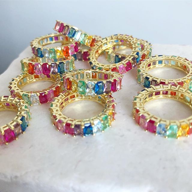 Rainbow eternity bands are back in stock and one sale for 25% off! Tap photo to shop ❤️🌈💎