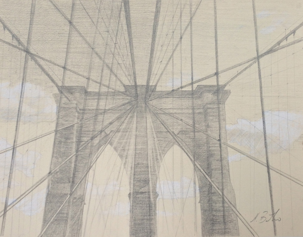 """Brooklyn Bridge"" Graphite Pencil on Paper 9"" x 12"""