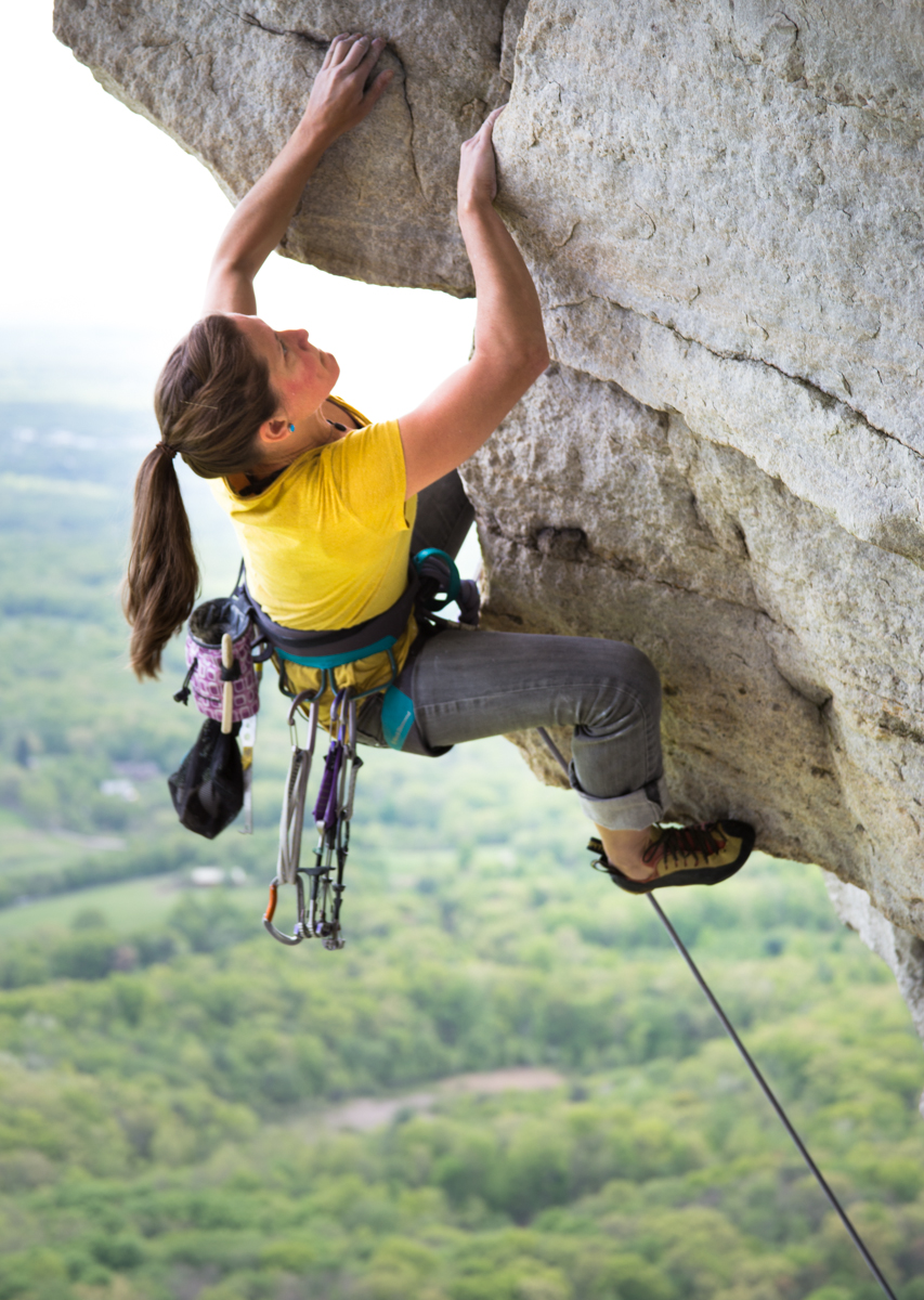 Whitney on Ozone, one of the hardest lines at the Gunks. Photo: Christian Fracchia via Gunks Apps