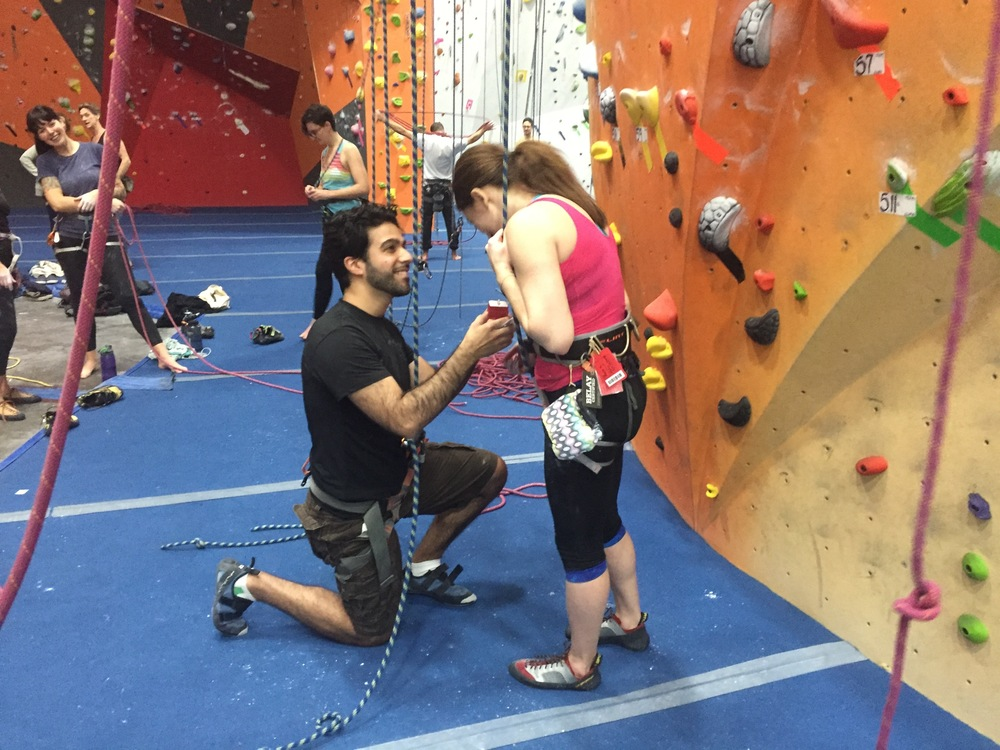We wrapped up the year with a (surprise!) proposal. Two lovebirds, intertwined with ropes and sweet nothings, found themselves caught in a moment at the base of a toprope climb at The Cliffs at LIC.