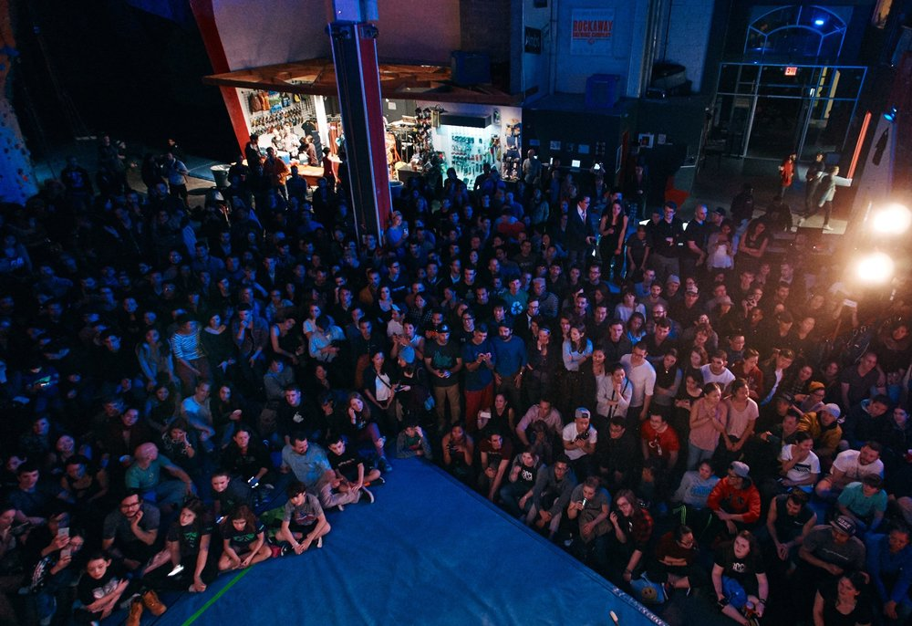 The first ever Tristate Bouldering Series Championship round in March packed the gym almost to capacity! This shot of the crowd was captured by member Josh Pestka.