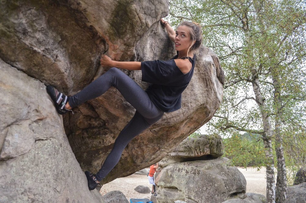 Photo: Phillip Kaminski - Kristina in Fontainebleau with Adaptive Climb Group