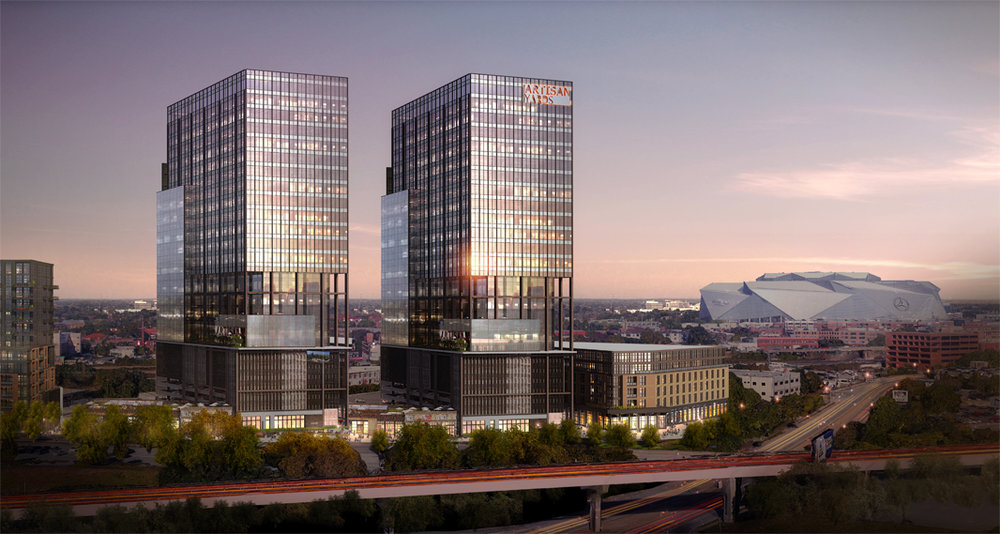 A rendering of what could come to a 10-acre downtown site that's now on the market.