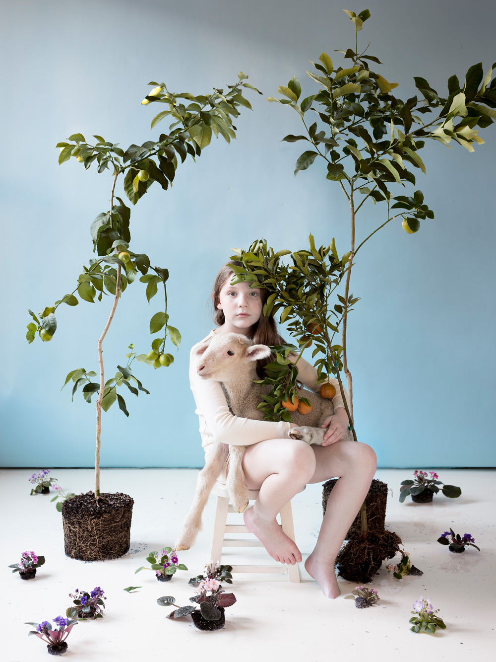 "Bianca, Lamb, Citrus, Flowers, Milk , archival pigment print, 20"" x 16"", edition 3 of 20, 2018."