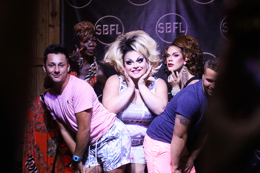 Above: China Moon (back left), Ginger Minj (center), and Nadia Simone (back right)