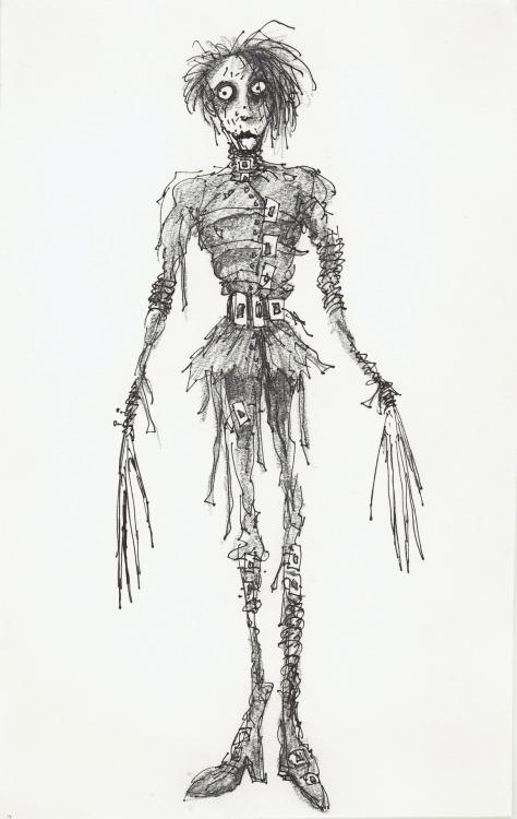 Tim Burton (United States, b. 1958), Untitled (Edward Scissorhands), 1990, pen and ink, and pencil on paper, 14¼ x 9 in., Private collection, Edward Scissorhands © Twentieth Century Fox, © 2011 Tim Burton