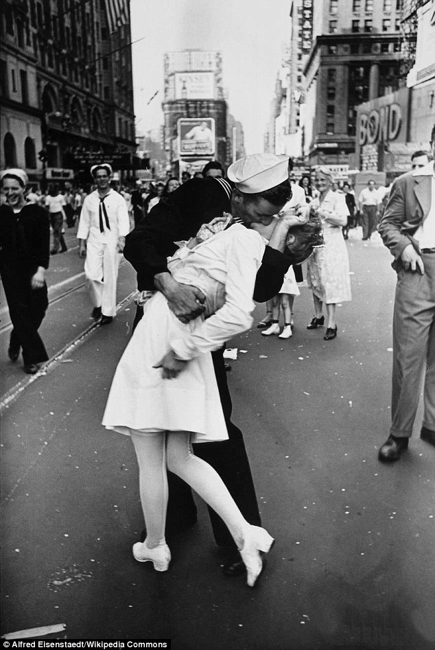 "Commonly viewed as a celebration of victory, this photo depicts a sailor, probably drunk, who was celebrating by ""running along the street grabbing any and every girl in sight"""