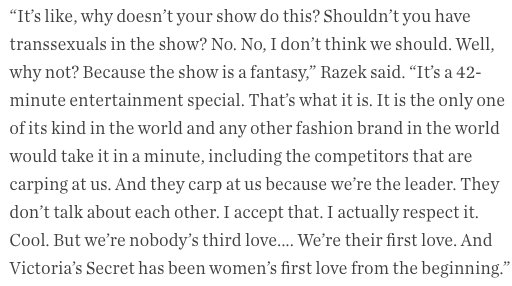 Comments by Edward razek for american vogue
