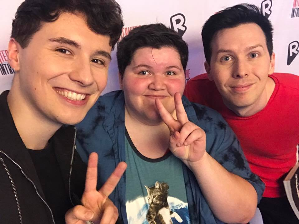 Stark [ pictured in the middle] meets famous Youtubers Dan and Phil.