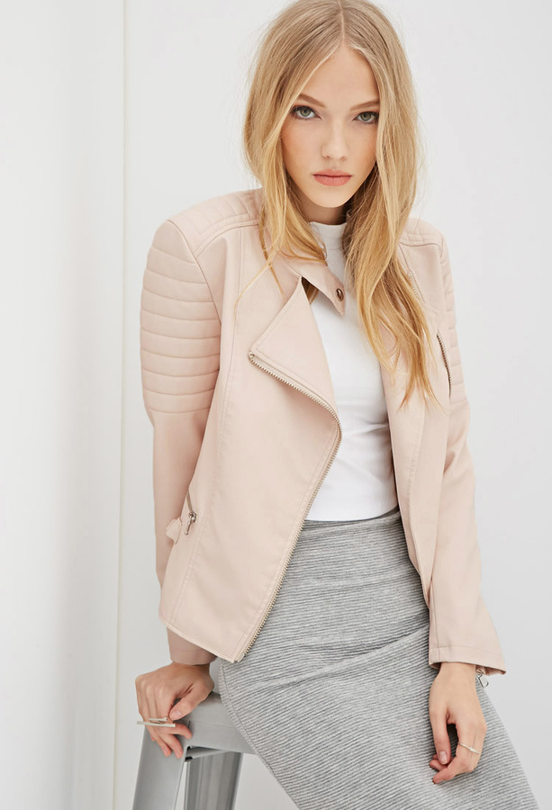 Pale peach leather jacket