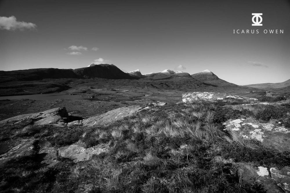 Lochanan Dubh in Assynt, Scotland, with Sgurr An Fhidhleir in the background.