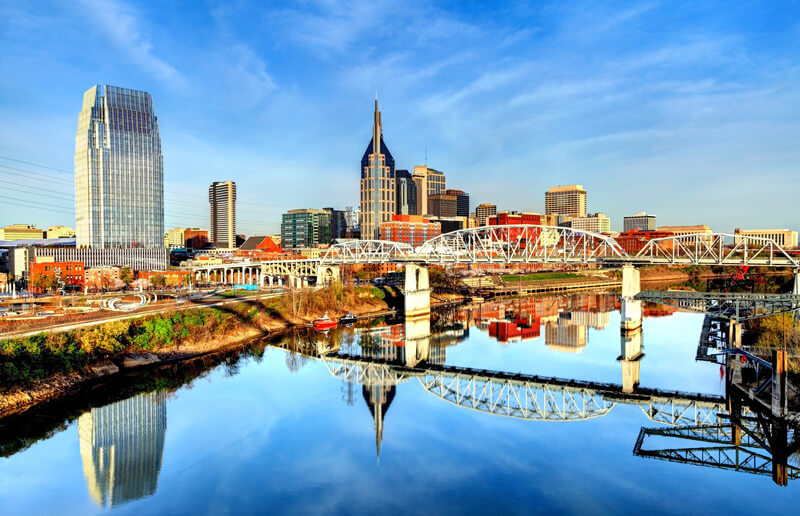 Downtown Nashville during a sunny afternoon