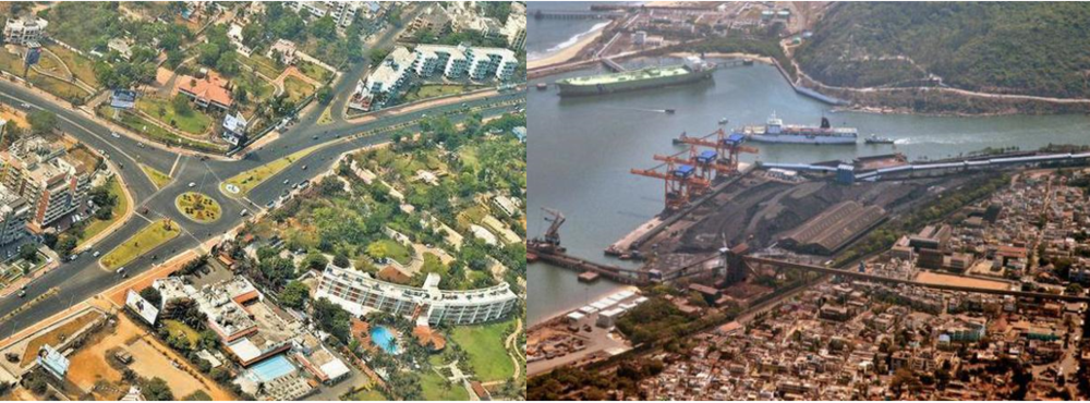 "Figure 1. Indian cities are full of contrast; Visakhapatnam (erstwhile ""Vizag"") has a well laid-out city center with proper addresses while the port area is overgrown and chaotic"