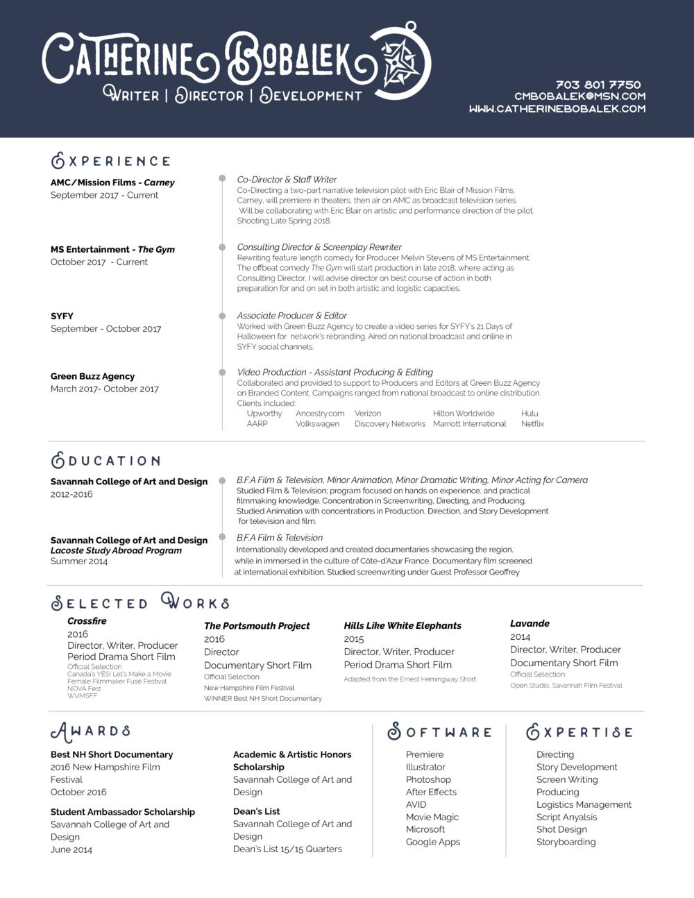 Resume — Catherine Bobalek