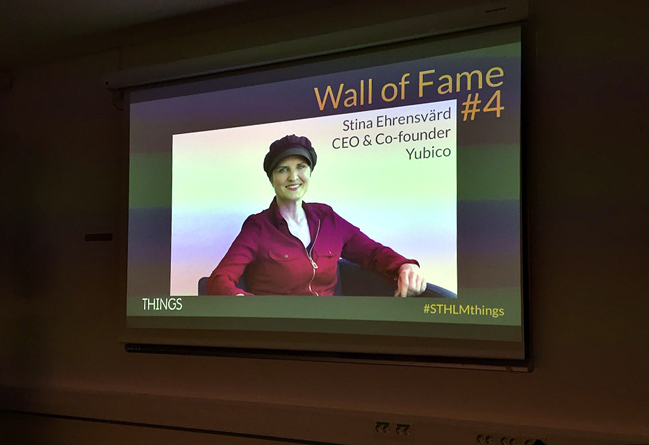 Stina Ehrensvärd, founder of Yubico accepts THINGS' 2018 Wall of Fame award via a video message from her Silicon Valley offices.