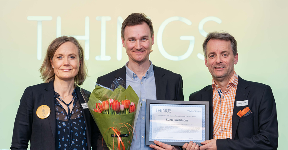 Sven Lindström, founder of Midsummer receiving THINGS 2019 Wall of Fame award, together with Katarina Fégeant, THINGS Acting CEO and Magnus Melander, THINGS co-founder.