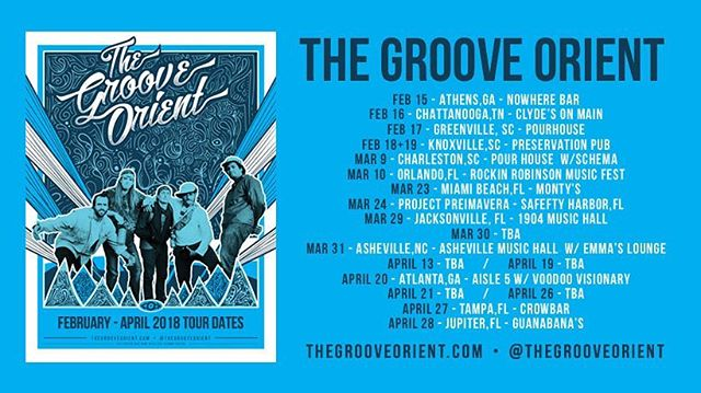 Tour Announcement!  Happy Valentine's Day!  Our v-day present to you are all these upcoming shows!  We'll see you on the road!  Thursday - Athens, GA - @nowherebarathensga  Friday - Chattanooga, TN - @clydesonmain  Saturday - Greenville, SC - @pourtaproomgreenville  Sunday / Monday - Knoxville, TN - @preservationpub  #tgotour #thegrooveorient #tourlife #roadwarrior #tourannouncement