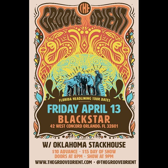 Just announced our next headlining home town throw down!  Join us Friday the 13th of April at Orlandos newest music venue @blackstarorlando with our good friends @oklahomastackhouse #tgotour #thegrooveorient #orlando #fl #hometownthrowdown poster art by @jimmyrector get your pre-sale tickets now!  Link in bio!