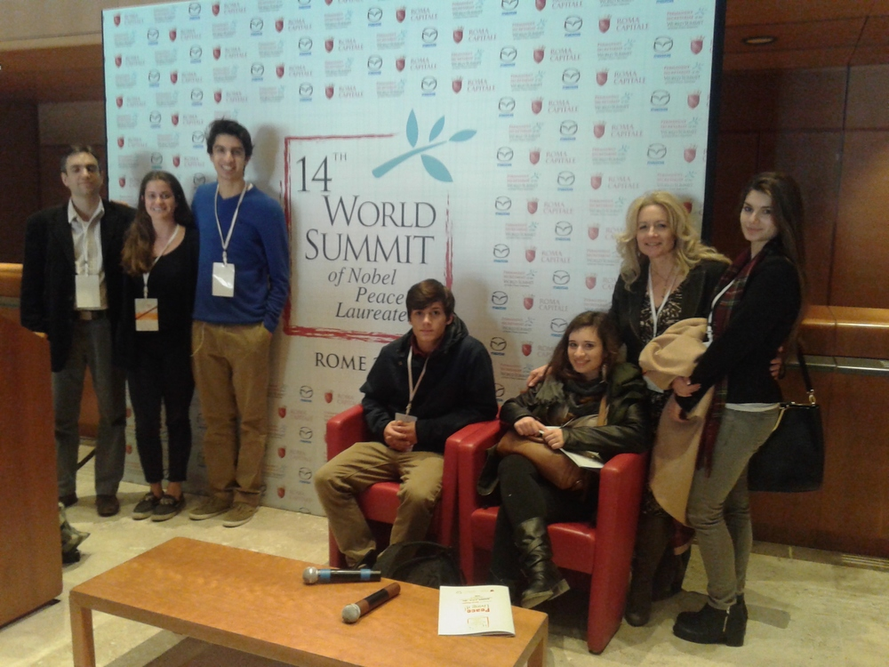 EIMAI- STUDENT DELEGATION FROM GREECE TO XIV WORLD SUMMIT NOBLE LAUREATES OF PEACE IN ROME.jpg