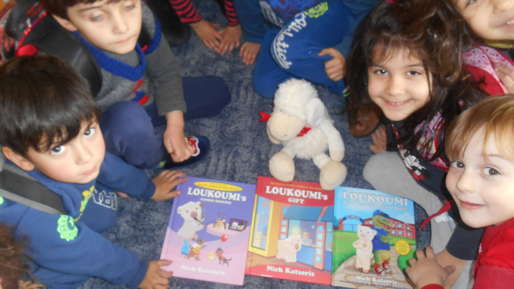 Children at the nursery school of Keratsini read Loukoumi's Good Deeds books!.JPG