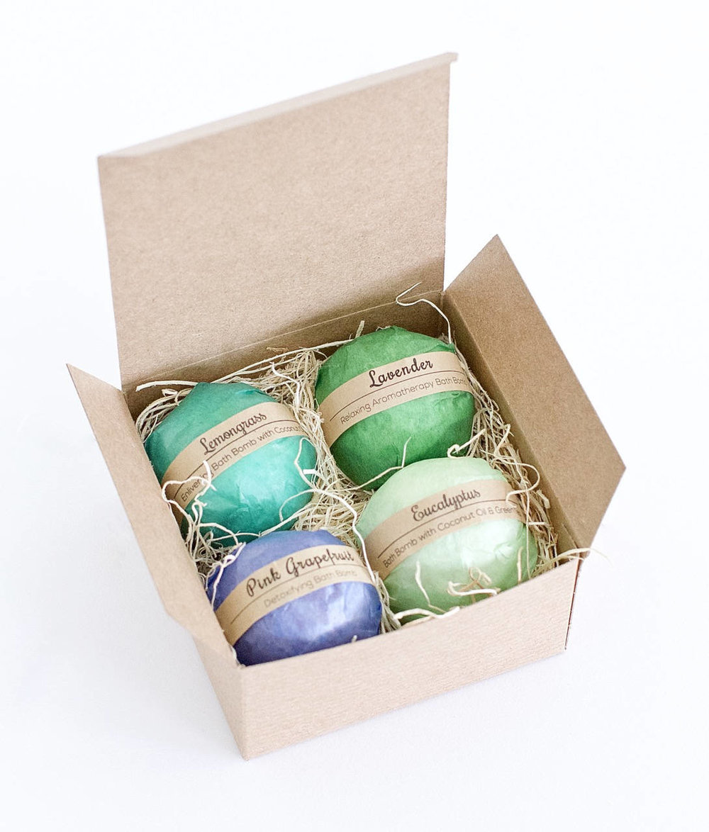 New Bath Bomb Gift - Essential Oil Bath Bombs Make a great little something gift for a friend who could use a relaxing home spa day.  Each bath bomb is 1.5