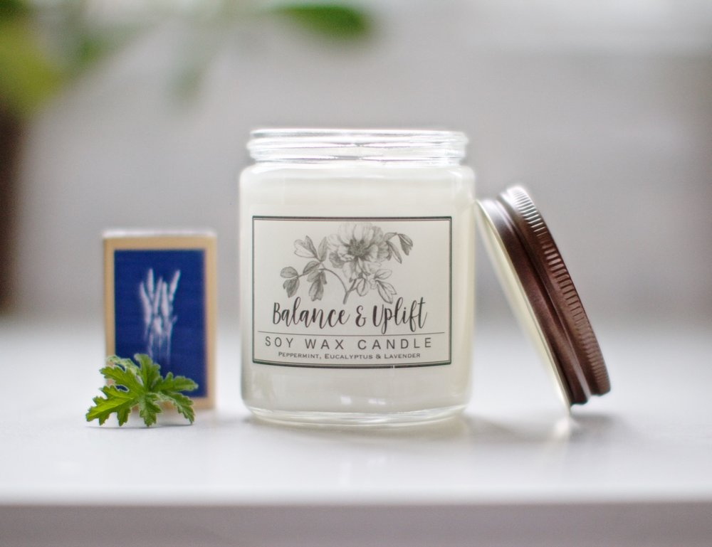 Balance & Uplift Candle - So Enamored with our newest candle, a fresh clean scent that is the bright spot in any room of your beautiful house.  8 oz 40 hour burn time Just $12.50
