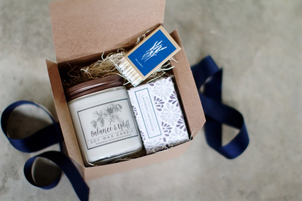 Stress Relief Gift Set - We made this candle the feature of our new Stress Relief gift set including Lavender Relaxing Aromatherapy Soap and a Vintage Botanical Matchbook.  This set arrives gift wrapped with your custom gift tag message on top so you can send directly to that loved one who needs a little TLC.