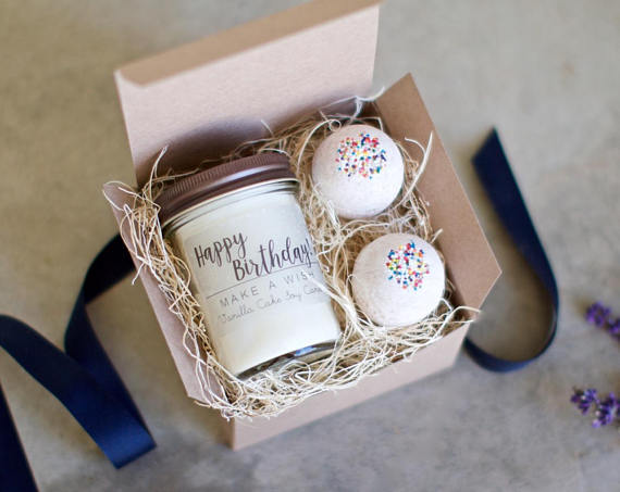 Birthday Gift For Her Vanilla Cake Candle And Bath Bath Bomb Set