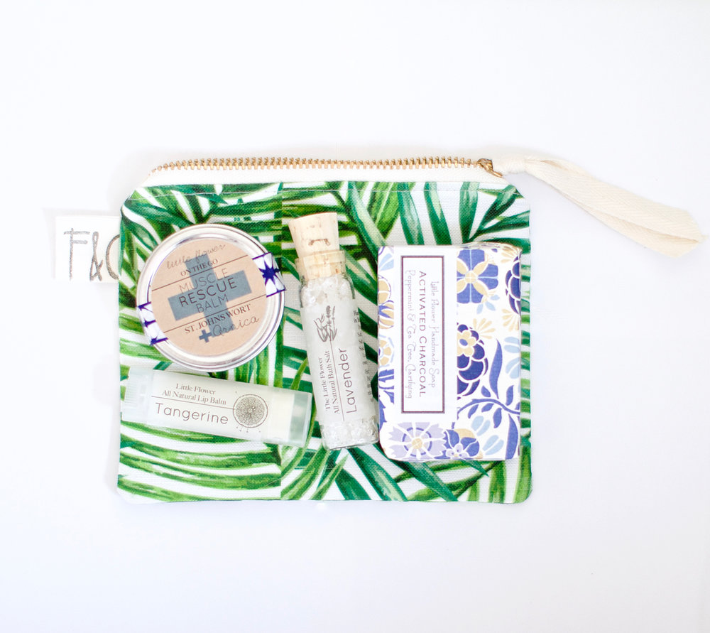 Gift for Mom Cosmetic Case Spa Gift Set   For the nature lover who has a little bag addiction (ahem my mom) this little toiletry bag is handmade from botanical watercolor print canvas with a brass zipper, its fully lined and comes full of essential oil goodies. Honestly i recommend getting one for yourself too, no one has to know and then you and mom can be twinsies!! Picture it your out to lunch you both reach to pay and pull out MATCHING PALM PRINT BAGS!!! <3