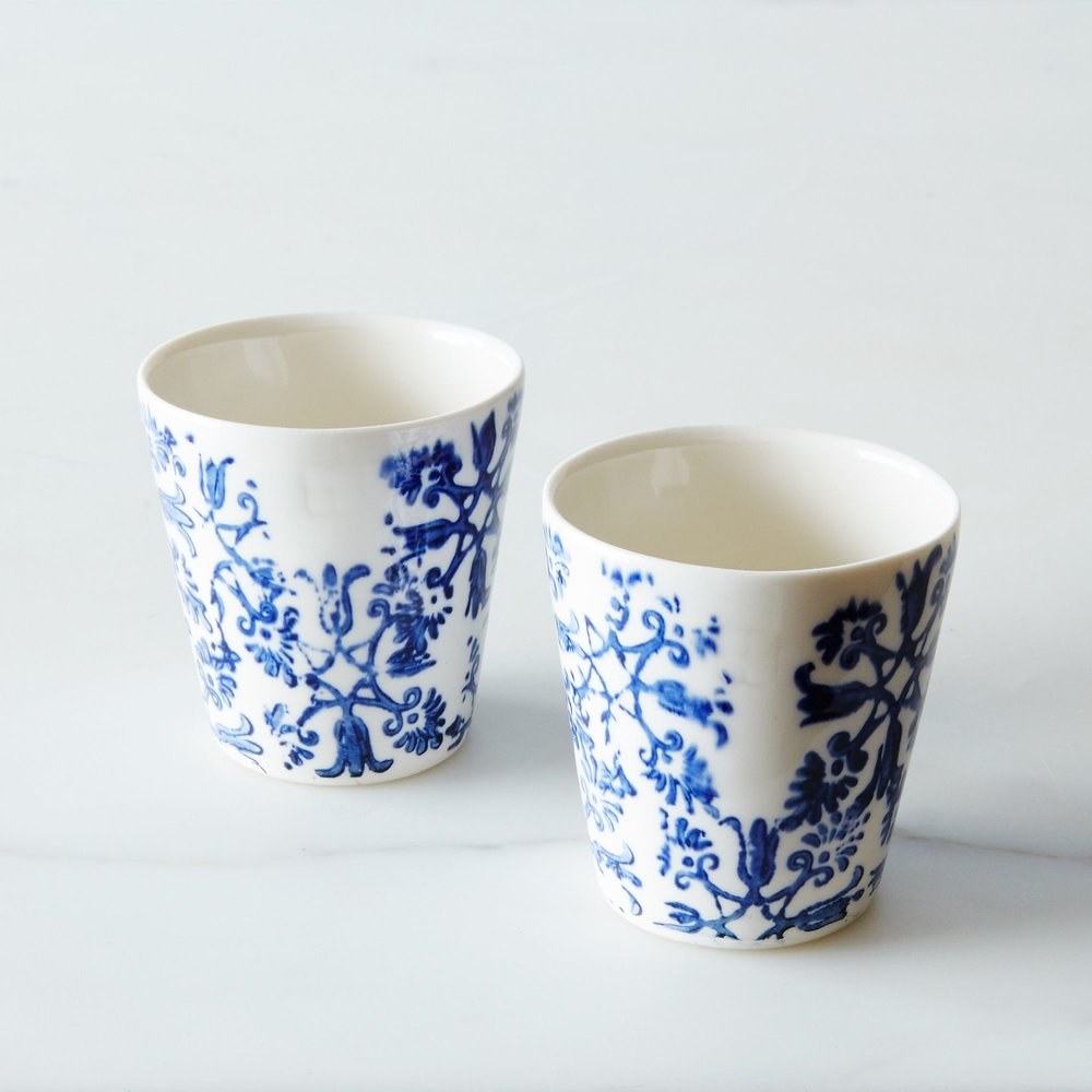 Floral  Cups - Espresso for 2 via Food 52 and art et manufacture.  I own and love these !! Hand-wash please they're precious.