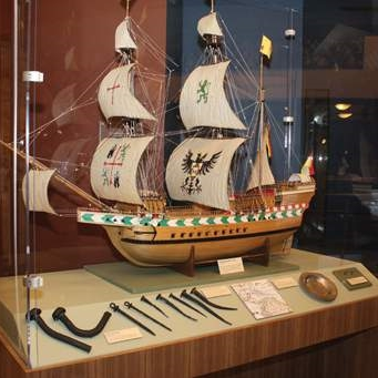 Built by hand from the ship's original plans, this ship model took about 3,500 hours to build.
