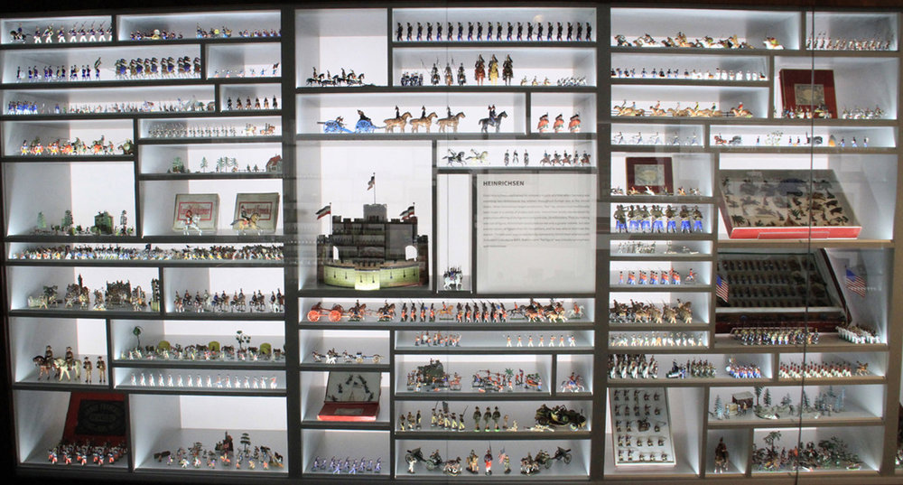 The toy soldiers and historic miniatures are arranged according to country of manufacture and makers of distinction  .