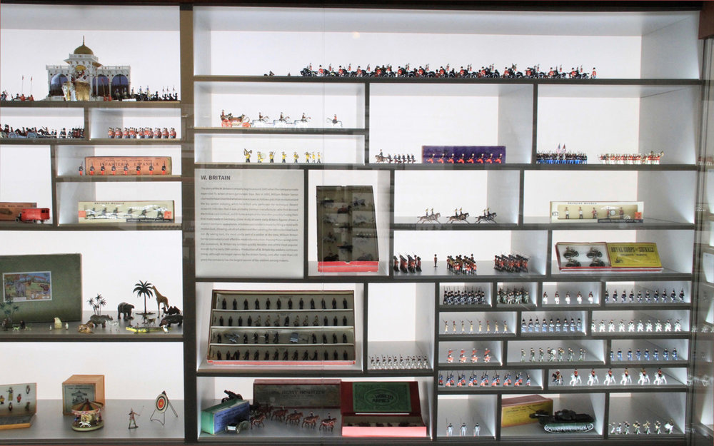 The collection is housed in custom made display cases, pictured above is a section dedicated to German makers of toy soldiers.