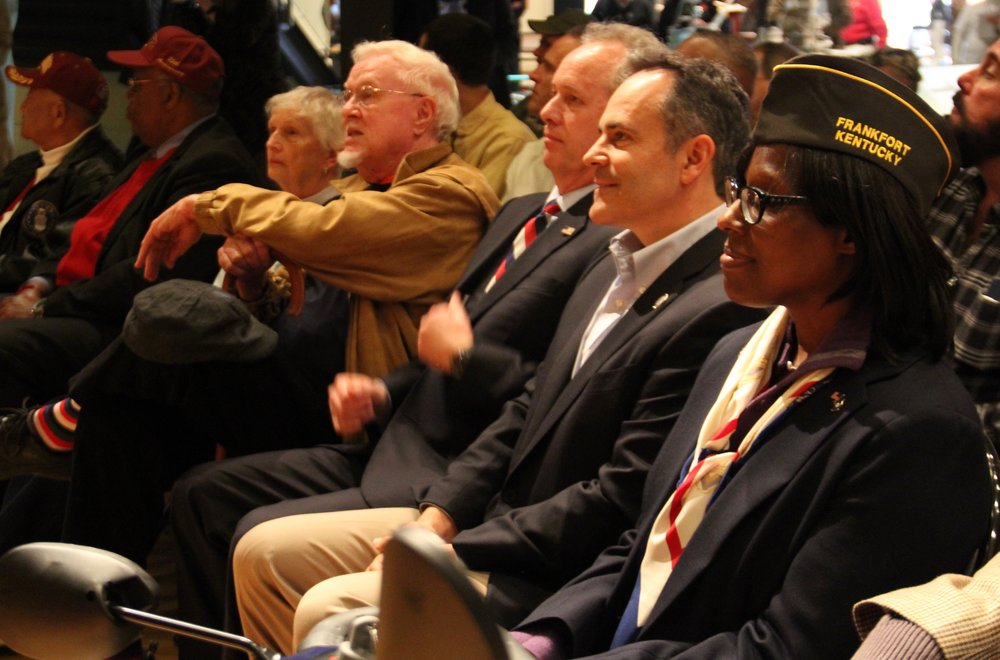 Lieutenant Governor Jenean Hampton, Governor Matt Bevin, Mayor Gregg Fisher , Veterans, and active military personnel gathered for the opening of Personal Stories of Pearl Harbor.