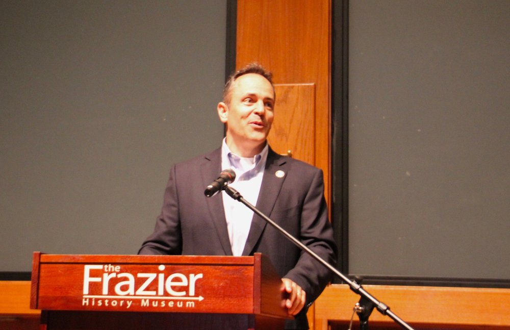Governor Matt Bevin speaks at the Frazier as part of Veteran's day celebrations and the opening of Personal Stories of Pearl Harbor.