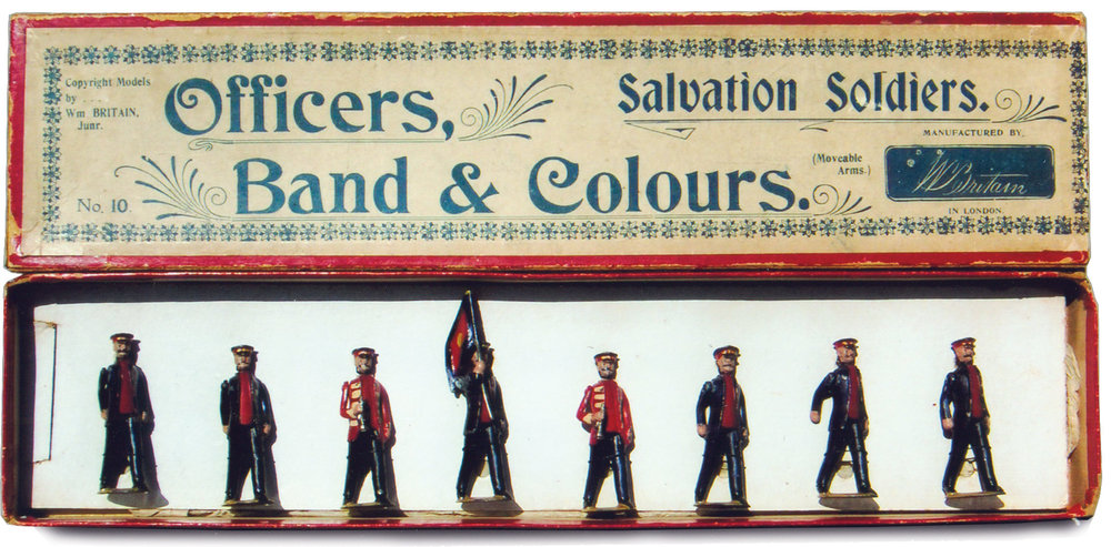 Salvation army: Officers, Band& Colors, Set #10, 1906 This is one of the rarest W. Britain sets, the inclusion of the original box, which is the only one known to exist makes this set extremely rare and valuable. The set was discontinued in 1908.