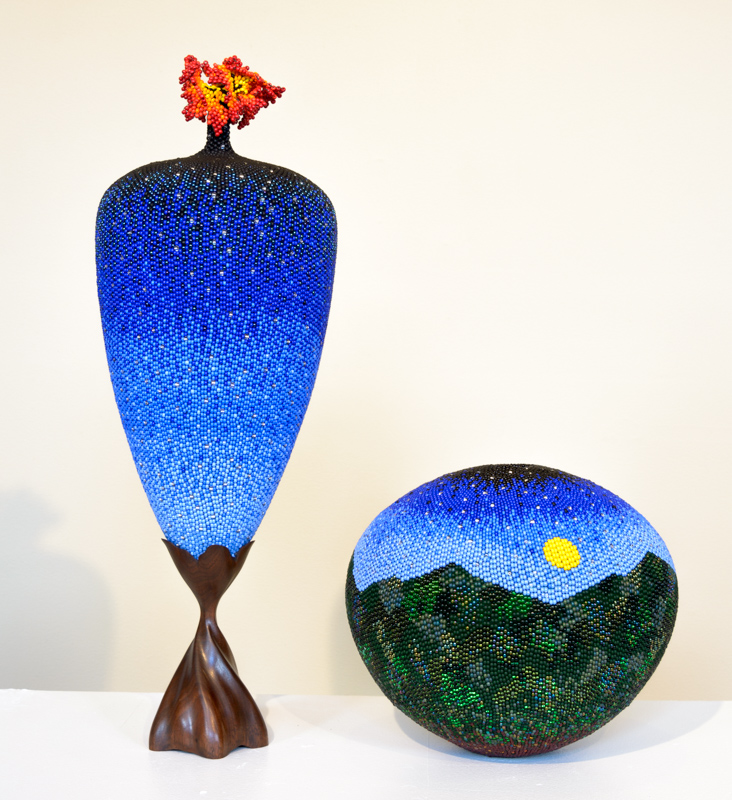 Linda Fifield, McKee, KY | (L)Celestial Flower | (R)Hills of Home #32 Mix with beads