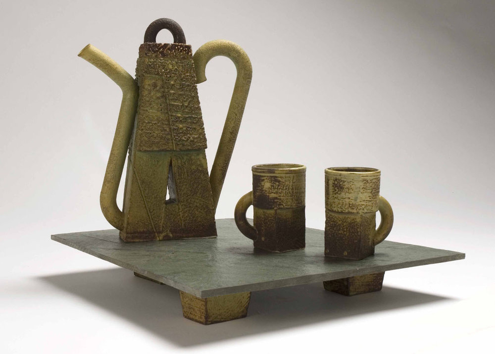 """""A"" Teapot on Tray"" by Walter Hyleck. 1993. Porcelain, thrown and slip cast on slate tray."