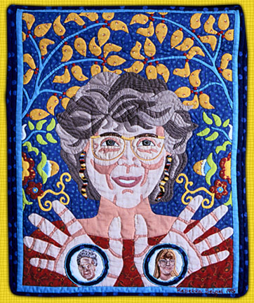 """Self-Portrait with Nellies"" by Rebekka Seigel. 1995. Fiber, hand appliqué, machine-pieced, hand-quilted, hand embroidery."