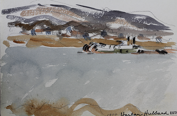 Untitled River Landscape with Steamboat, Harlan Hubbard Watercolor ©Bill Caddell, photographed by David Aaron Marshall.jpg