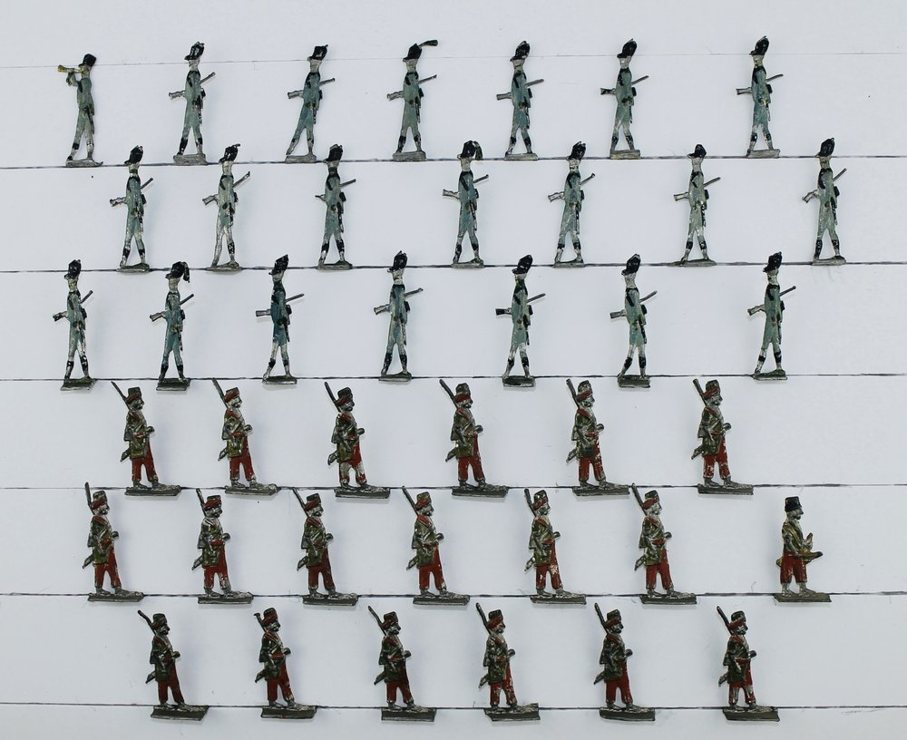 Unknown, French Colonial Troops & (possibly) Swiss and Austrian Infantry, c. early 19th c. Early tin flats, 30 mm.