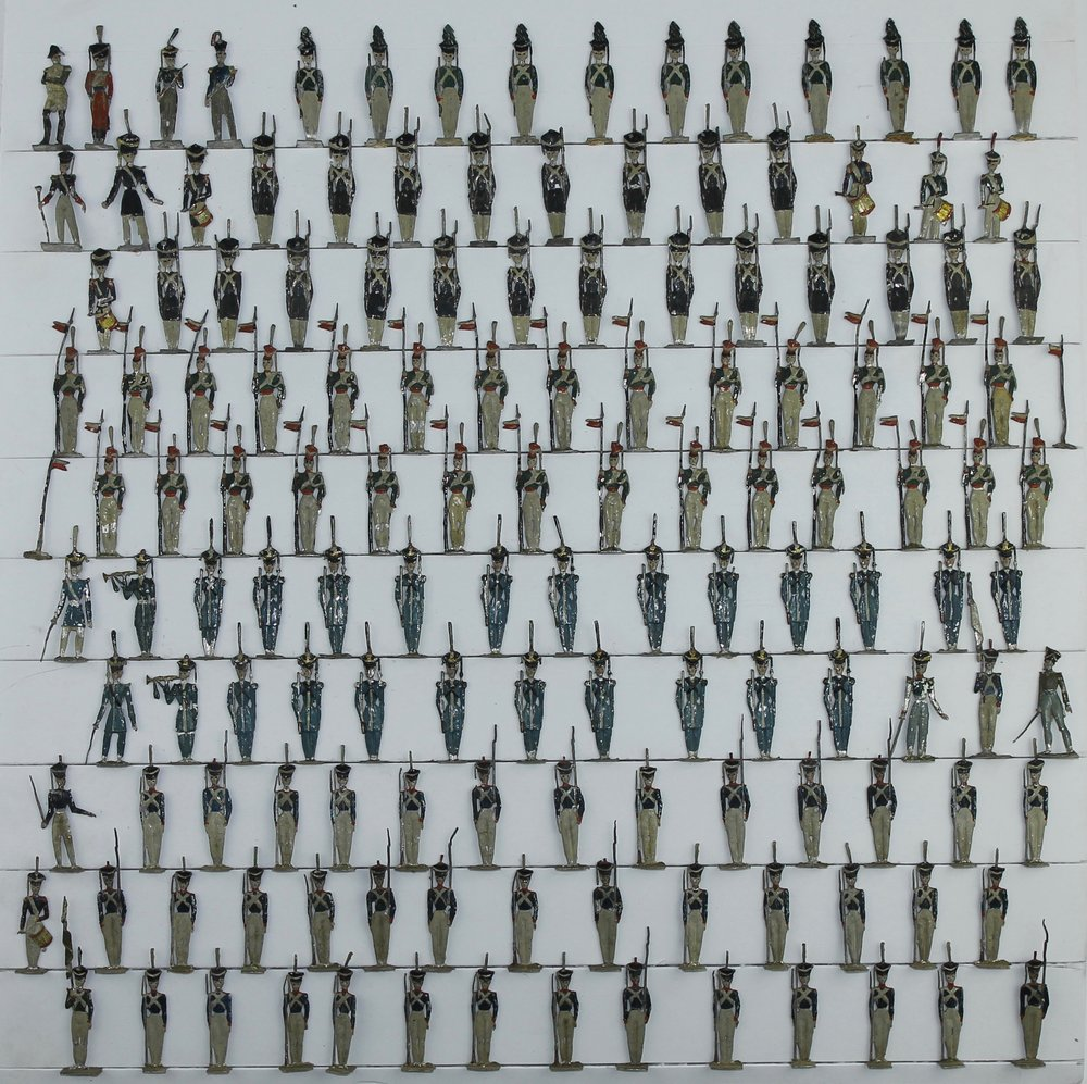 """Unknown and Allgeyer, Germany, Napoleon and French Infantry, c. 1860. Early tin flats, 30 mm. Formerly displayed in a shadow box labeled """"Napoleon's Farewell to his Troops, 20 April 1814."""""""