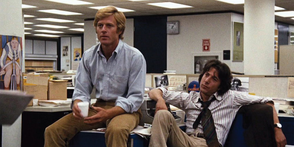 "ALL THE PRESIDENT'S MEN (1976)   ""The Washington Post"" reporters  Bob Woodward  and  Carl Bernstein  uncover the details of the Watergate scandal that leads to President  Richard Nixon 's resignation."