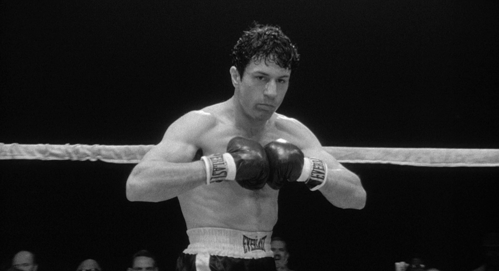 RAGING BULL (1980)   An emotionally self-destructive boxer's journey through life, as the violence and temper that leads him to the top in the ring destroys his life outside it.