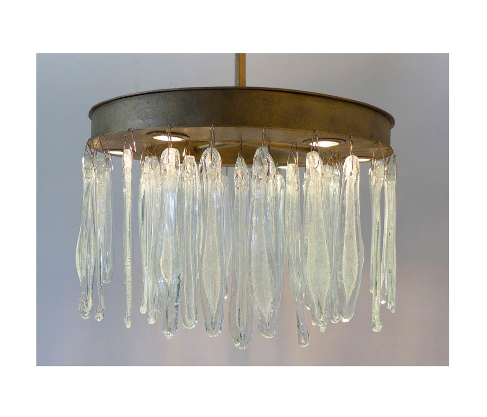 Steel chandelier with hand blown glass