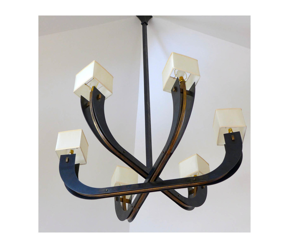 Steel and Bronze chandelier