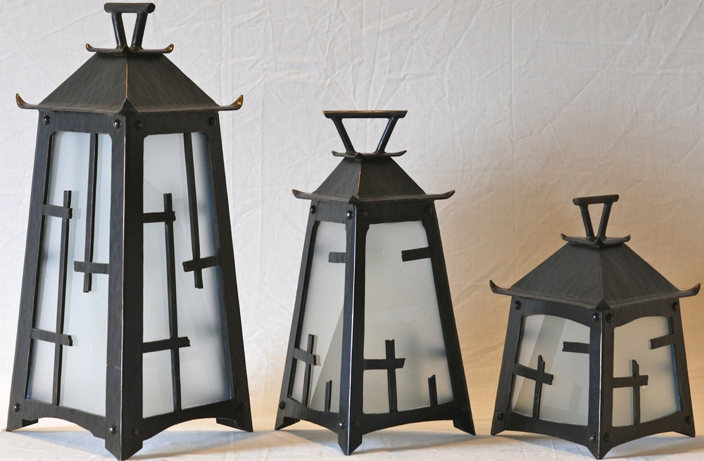 Trio of Asian inspired oil rubbed bronze lanterns