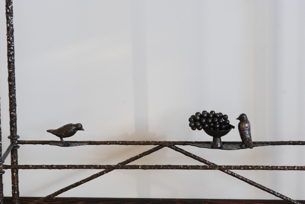 Giacometti inspired bronze coffee table with Birds and Grapevines