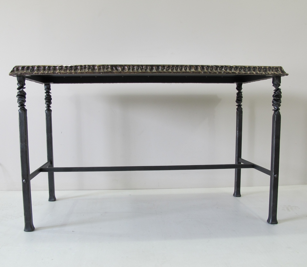 "Bronze and Steel Table with Twist and ""thumb print"""